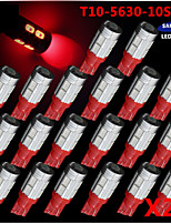 20X T10 Red 158 194 168 W5W 5730 10 smd led Car Light Bulb Lamp super 12V