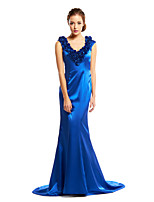 TS Couture Formal Evening Dress - Royal Blue Trumpet/Mermaid V-neck Court Train Charmeuse