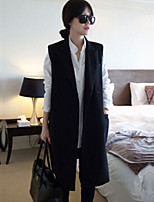 Women's Solid Black Blazer , Casual Notch Lapel Sleeveless
