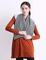 YI SHI DIAN Women's Check / Solid Black / Orange T-shirt , Round Neck Long Sleeve