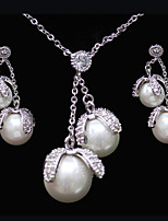 Gorgeous Platinum Plated With Cubic Zirconia And Pearl Wedding/Special Occaision / Party Jewelry Set.