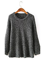 Women's Solid Gray Pullover , Sexy Long Sleeve