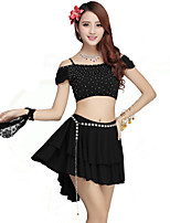 Belly Dance Outfits Women's Performance Rayon / Nylon / Spandex Ruffles 2 Pieces Black