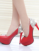 Women's Shoes Fashion Stiletto Heel Round Toe Platform Heels Party & Evening / Dress Black / Red / White