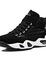 Men's Shoes Leather Athletic Shoes Basketball Lace-up Black / Black and White