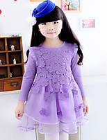 Girl's Pink / Purple Dress , Lace Spandex Spring