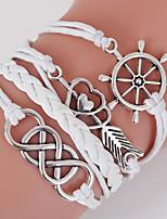Men's White Love Heart/Anchor Braided/Cord Leather Handmade Multilayer Charm Bracelet Unisex