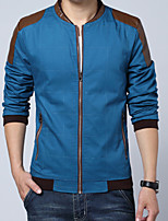 Men's Fashion Leather Patchwork Stand Collar Slim Fit Outdoor Casual Jacket;Cotton/Plus Size