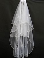 Wedding Veil Two-tier Blusher Veils / Fingertip Veils Beaded Edge