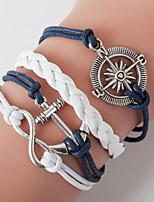 Retro Style Multilayer Blue Anchor Heart Love Weave Wrap Bracelet with Rivet