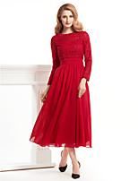 A-line Mother of the Bride Dress - Burgundy Tea-length Long Sleeve Chiffon / Lace