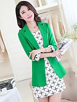 Women's Solid Pink / Black / Green Blazer , Casual V Neck ¾ Sleeve