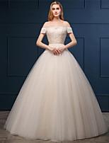 웨딩 드레스 - 샴페인 볼 가운 바닥 길이 오프 더 숄더 튤