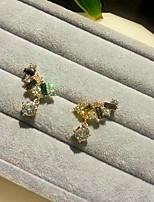 Artificial Color Gemstone Stud Earrings