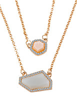Personality Beeswax Irregular White Gem Double Collarbone Chain Necklaces