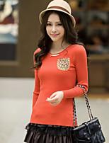 Women's Leopard / Solid Black / Green / Orange Pullover , Bodycon / Casual Long Sleeve