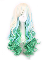 Fashion Sexy Women Hair Wigs Ombre White To Green Color Cosplay Synthetic Wigs