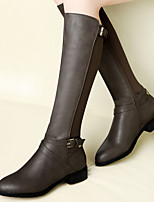 Women's Shoes Leather Chunky Heel Round Toe Boots Wedding / Party & Evening / Dress Black / Gray