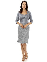 Sheath/Column Mother of the Bride Dress - Silver Knee-length Lace / Satin