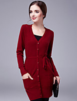 Spring Casual Women Slim Was Thin Double Pocket V Neck Long Sleeve Knitting Cardigan Tops