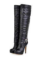 Women's Shoes Leatherette Stiletto Heel Fashion Boots Boots Outdoor / Casual Black / Almond