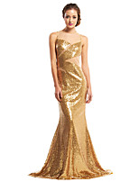 TS Couture Formal Evening Dress - Gold Trumpet/Mermaid Jewel Sweep/Brush Train Sequined
