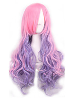 Fashion Sexy Women Hair Wigs Ombre Pink To Purple Color Cosplay Synthetic Wigs
