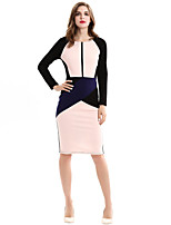 Brand Fashion Women's Sexy / Vintage / Simple Color Block Plus Size / Sheath Dress , Round Neck Knee-length Pencil skirt