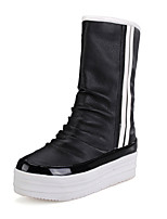 Women's Shoes Leatherette Wedge Round Toe Boots Outdoor / Office & Career / Casual Black / Red / White