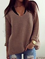 Women's Solid Vintage Style Fashion Loose Leisure Pullover , Casual Long Sleeve