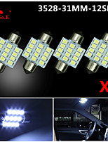 4X White 31mm 12-3528 SMD Festoon Dome Map Interior LED Light Lamp DE3175 3022