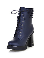 Women's Shoes Leatherette Chunky Heel Heels/ Round Toe Boots Outdoor / Office & Career / Casual Black / Blue