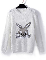 Women's Character White / Gray Pullover , Casual Long Sleeve