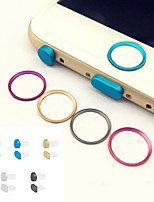 círculo botón de inicio protector anillo de cubierta de metal + toma de auriculares&puerto de carga tapón anti-polvo fijado para el