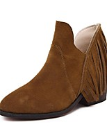 Women's Shoes Suede Chunky Heel Bootie Boots Casual Black / Brown