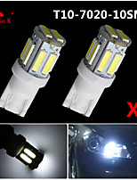 2PCS T10 W5W 192 168 194 7014 10SMD 7020 10 LED Side lights LED Wedge Light 12V