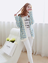 Women's Print Blue / Red Cardigan , Casual Long Sleeve