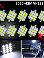 10X  White 41MM 5050 12SMD Festoon Dome Map Interior LED Light bulbs DE3423 6418 12V