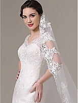 One-tier - Lace Applique Edge - Classic - Blusher Veils / Chapel Veils / Cathedral Veils ( White / Ivory , Applique )