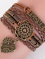 Men's Brown Love Peandent Braided/Cord Leather Handmade Multilayer Charm Bracelet Unisex