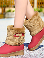 Women's Shoes Synthetic Flat Heel Snow Boots/Fashion Boots Boots Office & Career / Party & Evening/Casual Brown/Red