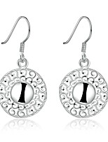 Concise Silver Plated Hollow Flower Round Drop Earrings for Party Women Jewelry Accessiories