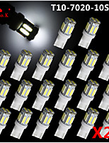 20pcs T10 W5W 192 168 194 7014 7020 10SMD 10 luci di posizione a led led cuneo luce 12v