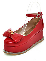 Women's Shoes Patent Leather Platform Creepers / Round Toe Heels Dress / Casual Black / Pink / Red / White