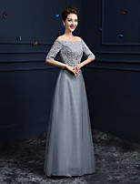 Formal Evening Dress - Silver Sheath/Column Off-the-shoulder Floor-length Lace / Satin / Tulle