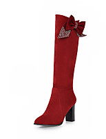 Women's Shoes Chunky Heel Pointed Toe / Closed Toe Boots Dress / Casual Black / Red