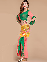 Belly Dance Outfits Women's Performance Rayon / Polyester Ruffles 2 Pieces Blue / Fuchsia / Green / Orange