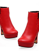 Scarpe Donna - Stivali - Ufficio e lavoro / Formale / Casual - Punta arrotondata / Chiusa - Quadrato - Finta pelle - Nero / Rosso