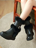 Women's Shoes Leatherette Wedge Heel/ Round Toe Boots Outdoor / Office & Career / Casual Black / White