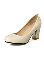 Women's Shoes Patent Leather Chunky Heel Heels / Round Toe Heels Dress Black / Pink / Beige